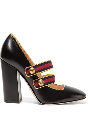 Gucci - Embellished Canvas-trimmed Leather Pumps - Black