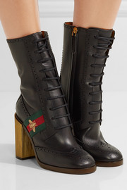 Gucci Canvas-trimmed leather ankle boots