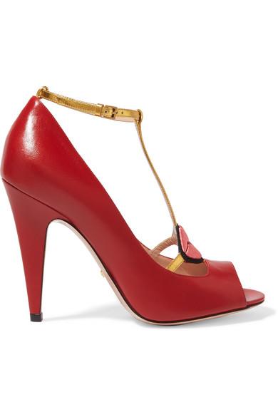 Gucci - Lip-appliquéd Leather T-bar Sandals - Red