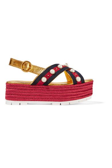 Gucci - Embellished Metallic Leather Espadrille Platform Sandals - Gold