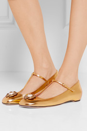 Gucci Embellished metallic leather ballet flats