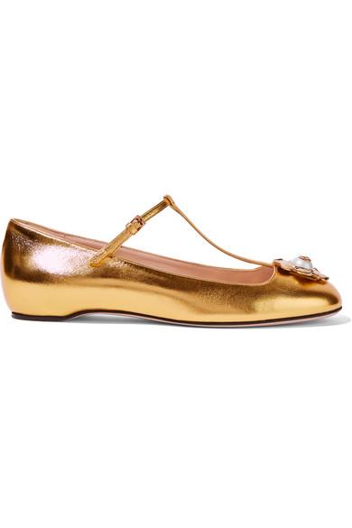 Gucci - Embellished Metallic Leather Ballet Flats - Gold