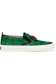Crystal-embellished brocade slip-on sneakers
