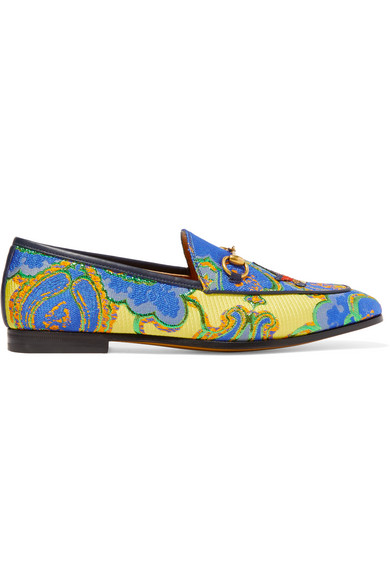 gucci female 201920 gucci jordaan horsebitdetailed jacquard loafers blue