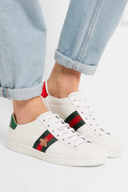 Gucci Watersnake-trimmed leather sneakers