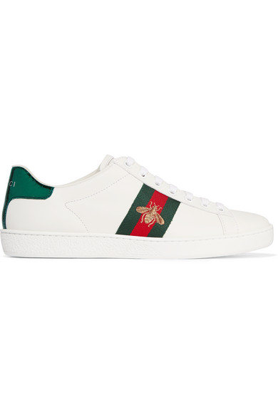 gucci female 45883 gucci watersnaketrimmed leather sneakers white