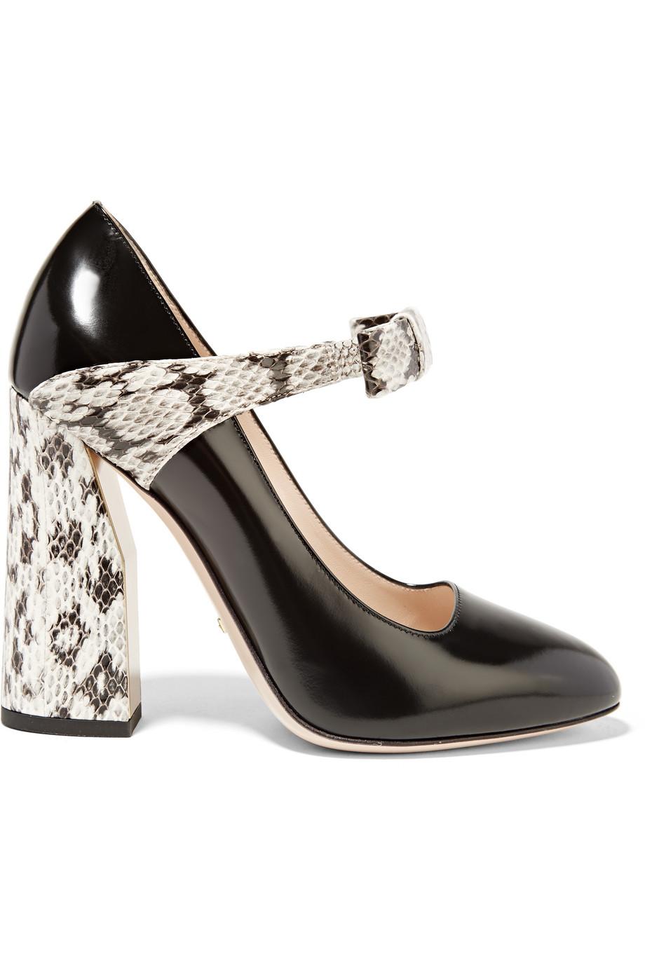 Gucci Bow-Embellished Elaphe and Leather Pumps, Black/Snake Print, Women's US Size: 6.5, Size: 37