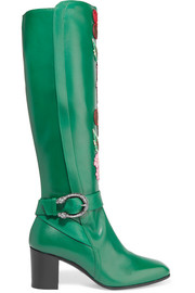 Gucci Embroidered leather knee boots