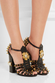 Embellished cutout leather pumps