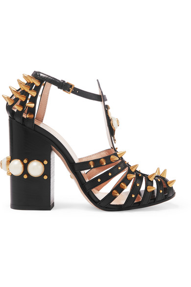Gucci - Embellished Cutout Leather Pumps - Black