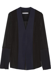 Tech jersey-paneled silk-chiffon blouse