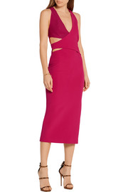 Dion Lee Cutout scuba-paneled stretch-ponte midi dress