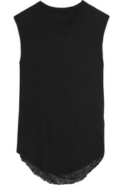 Raquel Allegra Draped-back distressed cotton-blend jersey tank