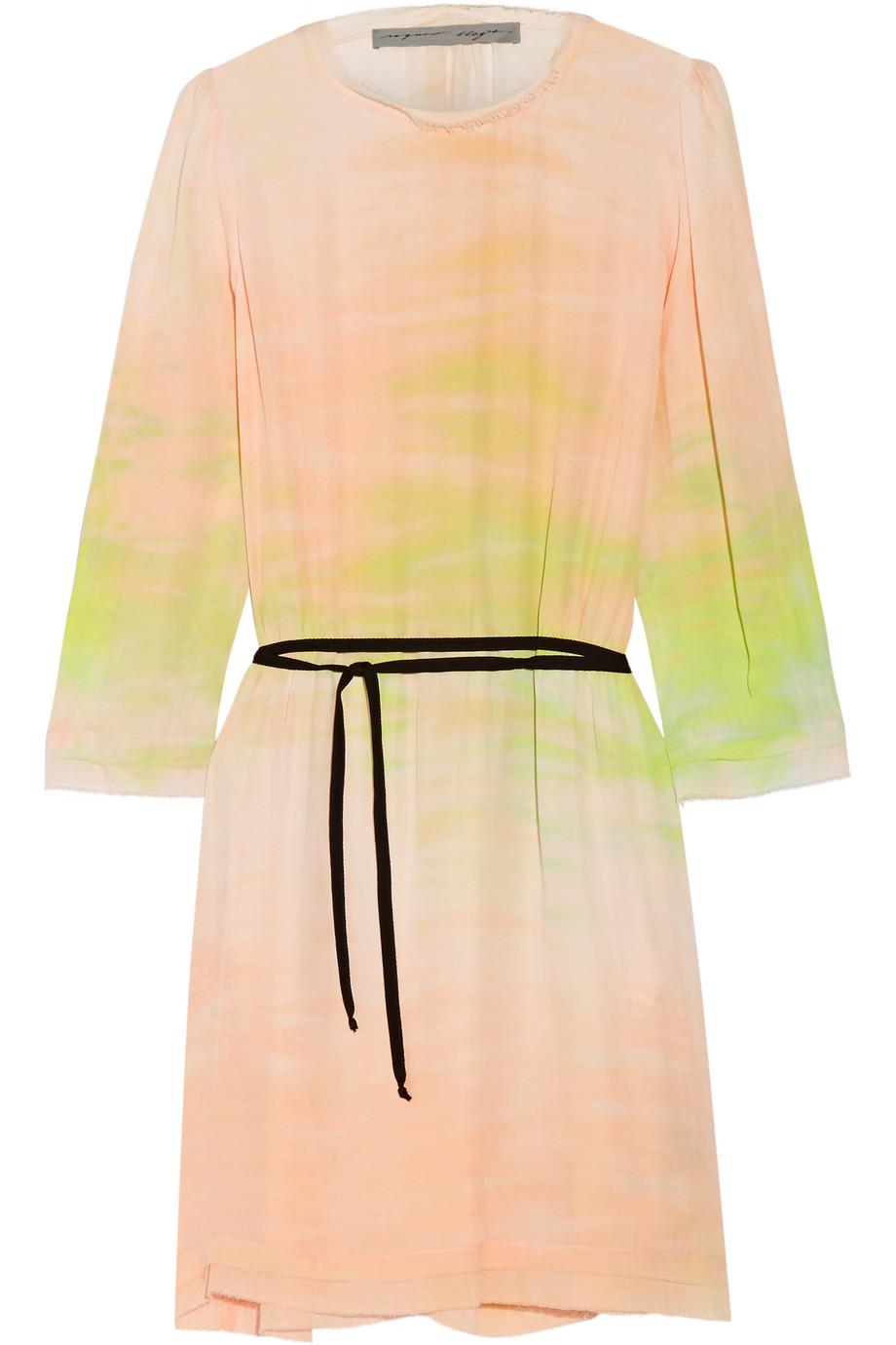 Raquel Allegra Tie-Dyed Silk-Georgette Dress, Pastel Pink/Yellow, Women's - Printed, Size: 3