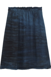 Raquel Allegra Tie-dyed silk-georgette mini skirt
