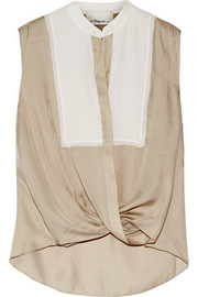 3.1 Phillip Lim Silk georgette-trimmed twill top