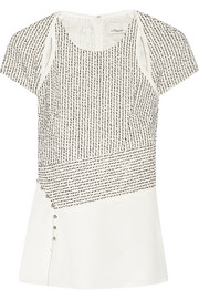 3.1 Phillip Lim Bouclé and silk crepe de chine top