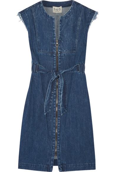 SEA - Frayed Denim Dress - Indigo