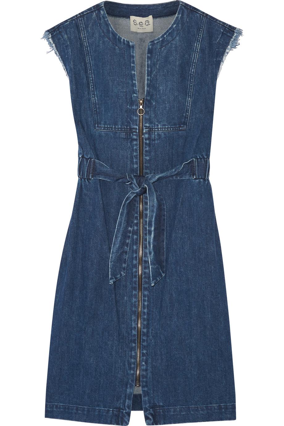 SEA Frayed Denim Dress, Indigo, Women's, Size: 4