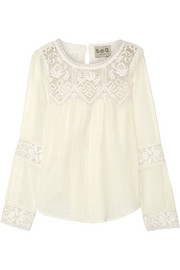 Crochet-trimmed cotton-gauze blouse