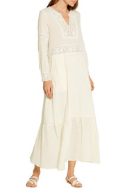 Crochet-trimmed cotton-gauze maxi dress
