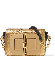New Natalia mini leather-trimmed metallic python shoulder bag