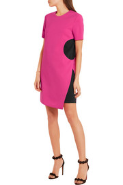 Versace Two-tone stretch-crepe mini dress