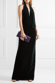Leather-trimmed satin clutch