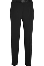 Versace Satin-trimmed silk-cady straight-leg pants