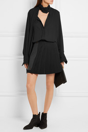 Versace Leather and pleated stretch-crepe mini skirt