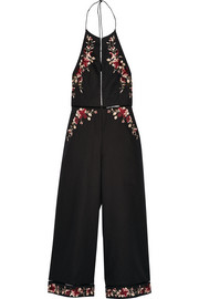 Sakura embroidered linen and cotton-blend jumpsuit