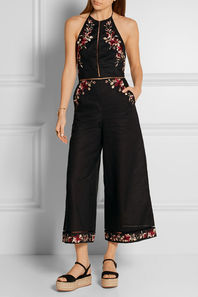 bee02922b507 Sakura embroidered linen and cotton-blend jumpsuit
