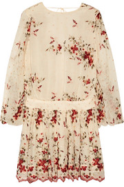 Sakura embroidered silk-georgette mini dress