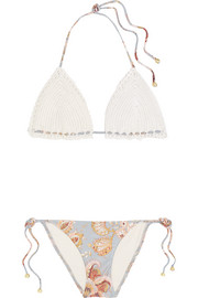 Pavilion crocheted cotton and floral-print bikini