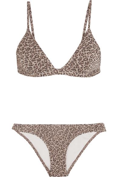 zimmermann female 123868 zimmermann pavilion metallic leopard cloque triangle bikini gray