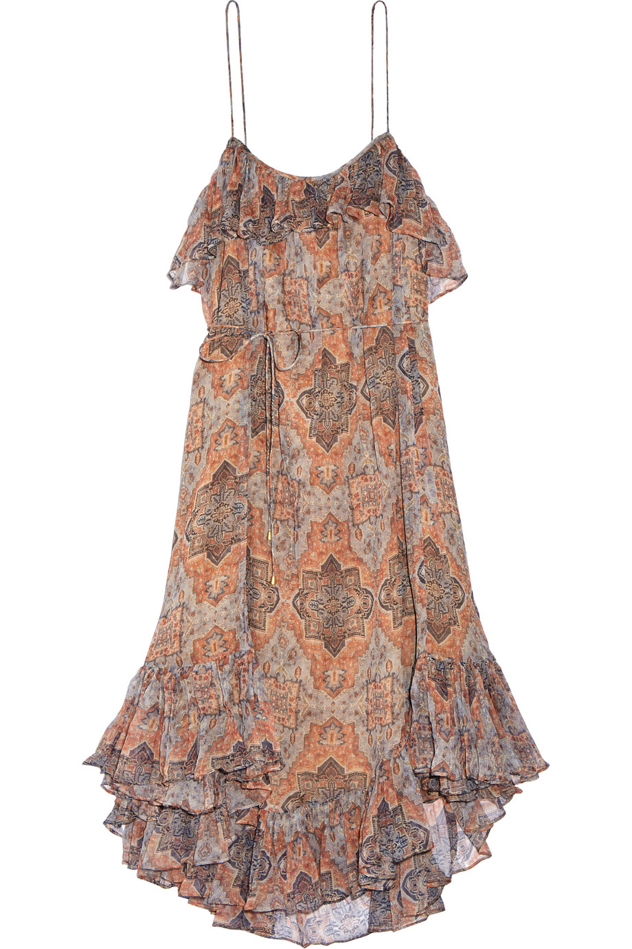 Zimmermann Harlequin Heriz Printed Crinkled Silk-Georgette Dress, Orange/Light Gray, Women's - harlequin, Size: 0