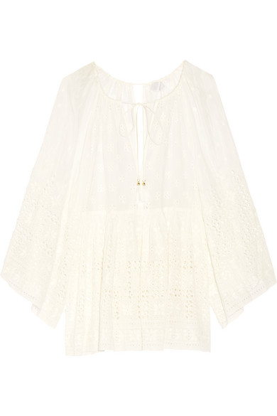 zimmermann female 45883 zimmermann harlequin broderie anglaise cotton and silkblend top white