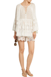 Zimmermann Harlequin broderie anglaise cotton and silk-blend top