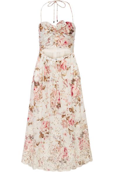 zimmermann female 45883 zimmermann eden cutout broderie anglaisetrimmed printed cotton dress offwhite