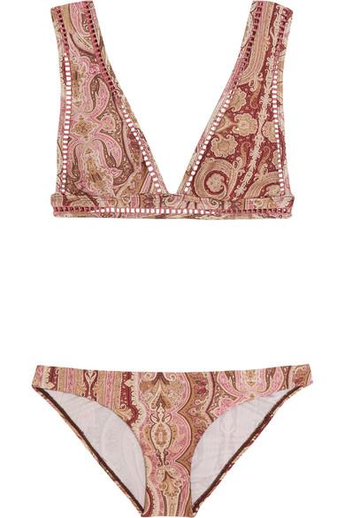 zimmermann female 215965 zimmermann realm paisleyprint triangle bikini burgundy