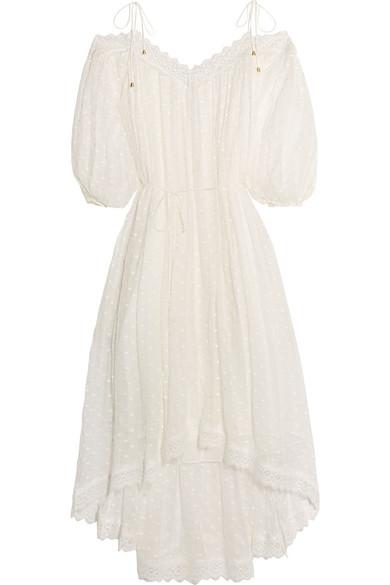 zimmermann female 45883 zimmermann realm lacetrimmed fil coupe silkgeorgette midi dress white
