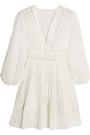 Realm lace-trimmed fil coupé cotton-voile mini dress