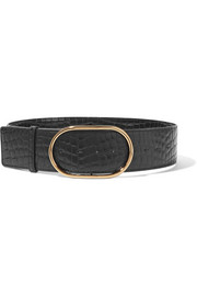 Croc-effect faux leather belt