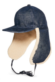 Stretch-denim and faux shearling hat