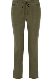 James Perse Cotton and linen-blend tapered pants
