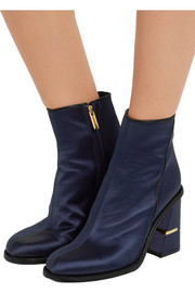 Tibi Nora leather-trimmed satin ankle boots