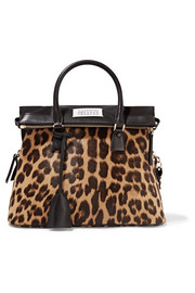 5AC small leopard-print calf hair tote