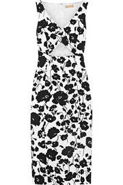 Cutout floral-print textured cotton and silk-blend dress