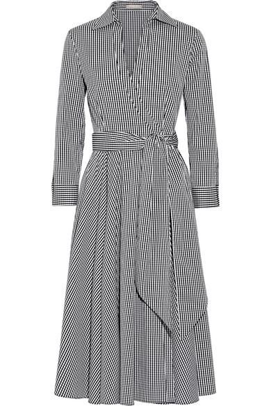 michael kors female 188971 michael kors collection gingham stretch cottonblend poplin wrap dress black