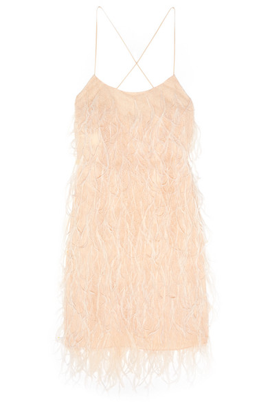 michael kors female 123970 michael kors collection featherembellished chantilly lace mini dress peach